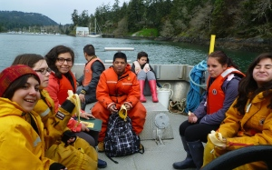 Marine Science students aboard MV Second Nature, head out to Race Rocks Marine Protected Area to do a quantitative, rocky shore study.